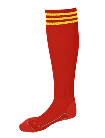Socks 3 Stripes Liverpool  Red / Yellow